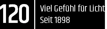 Logo 120 Jahre - Viel Gefühl für Licht. Seit 1898.